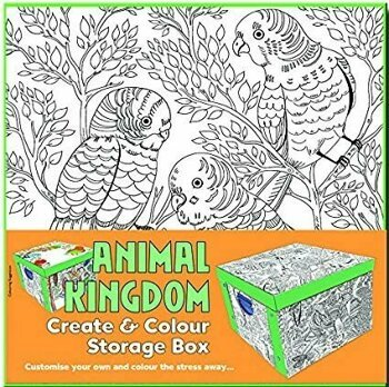 Collapsible Storage Box - Adult Colouring Animal Kingdom/***